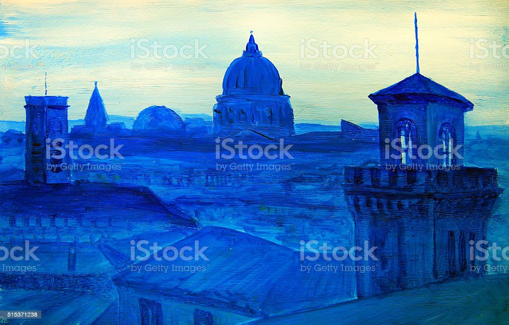 Painting of french city vector art illustration