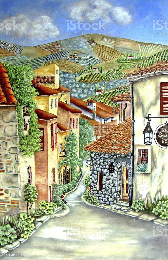Painting of French village with hills and houses. vector art illustration