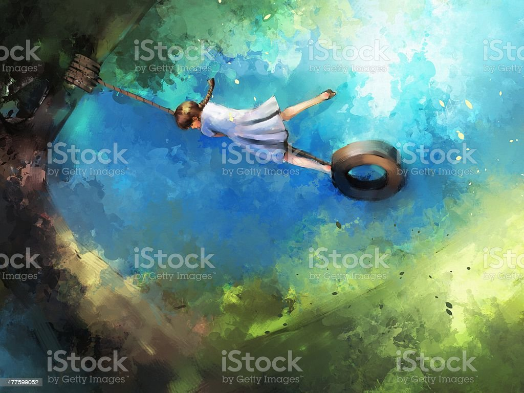 painting of girl on swing vector art illustration