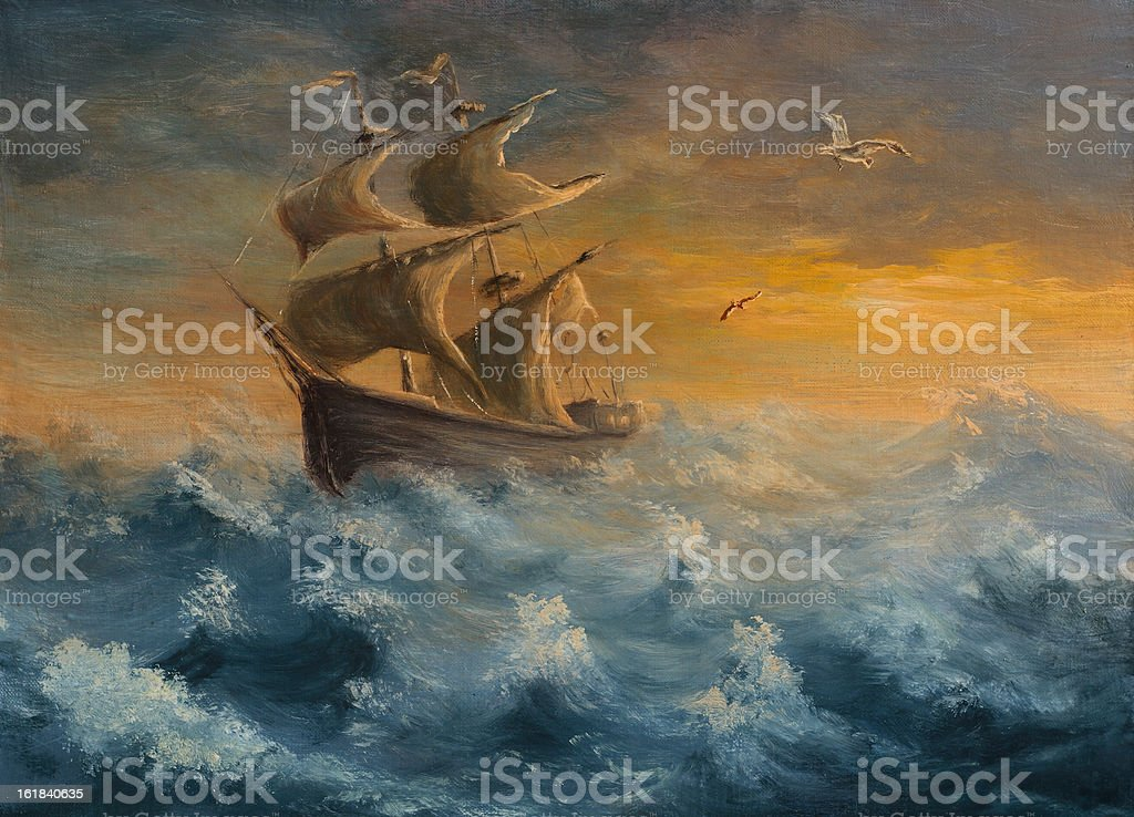 Painting of old sailing ship in daylight and rough seas vector art illustration