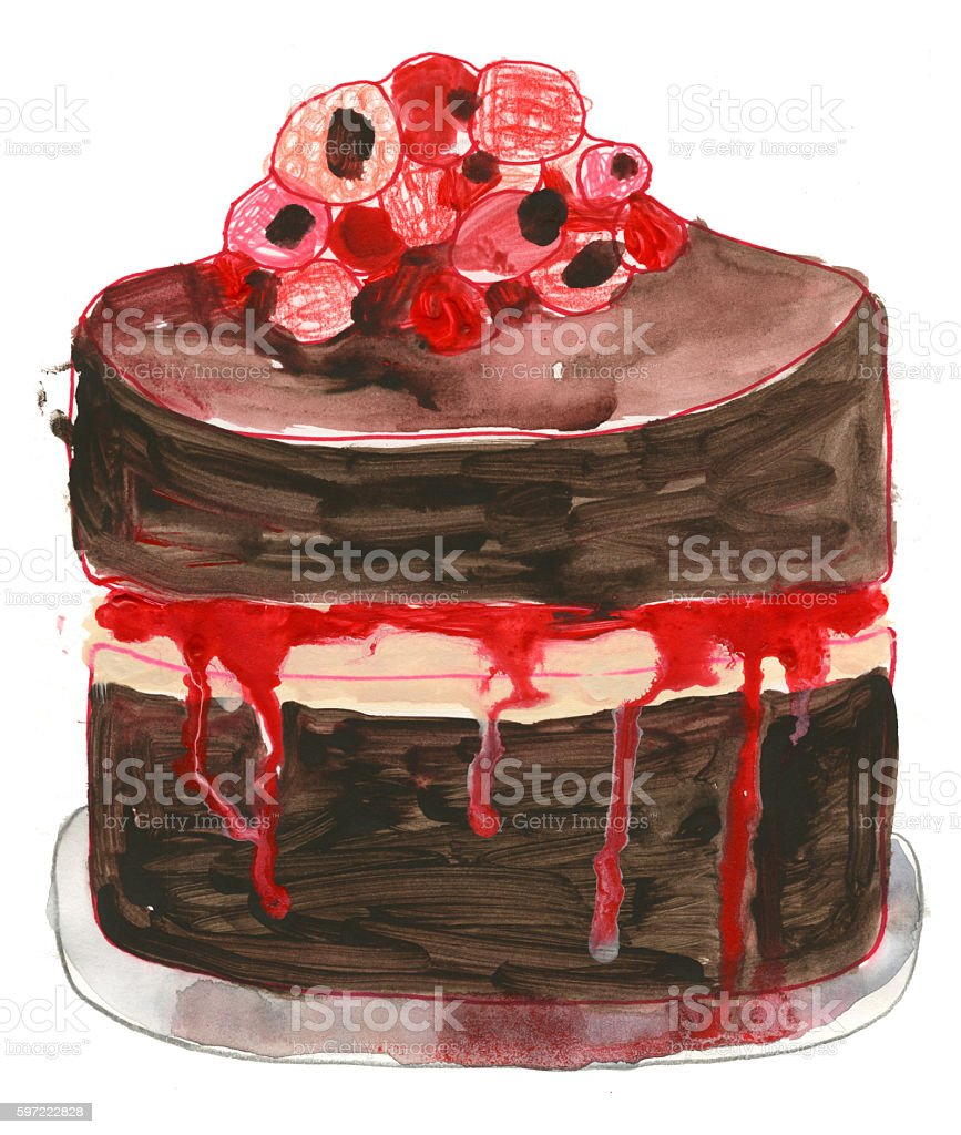 Painting of Raspberry and chocolate cake vector art illustration