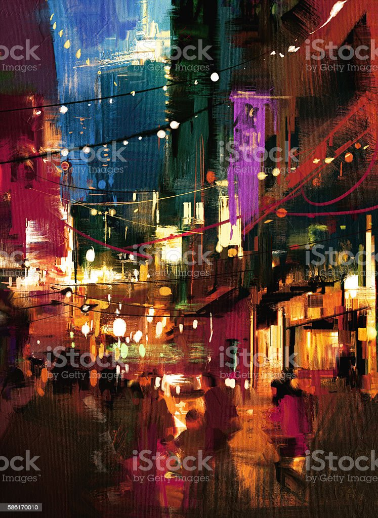 painting of shopping street at night vector art illustration