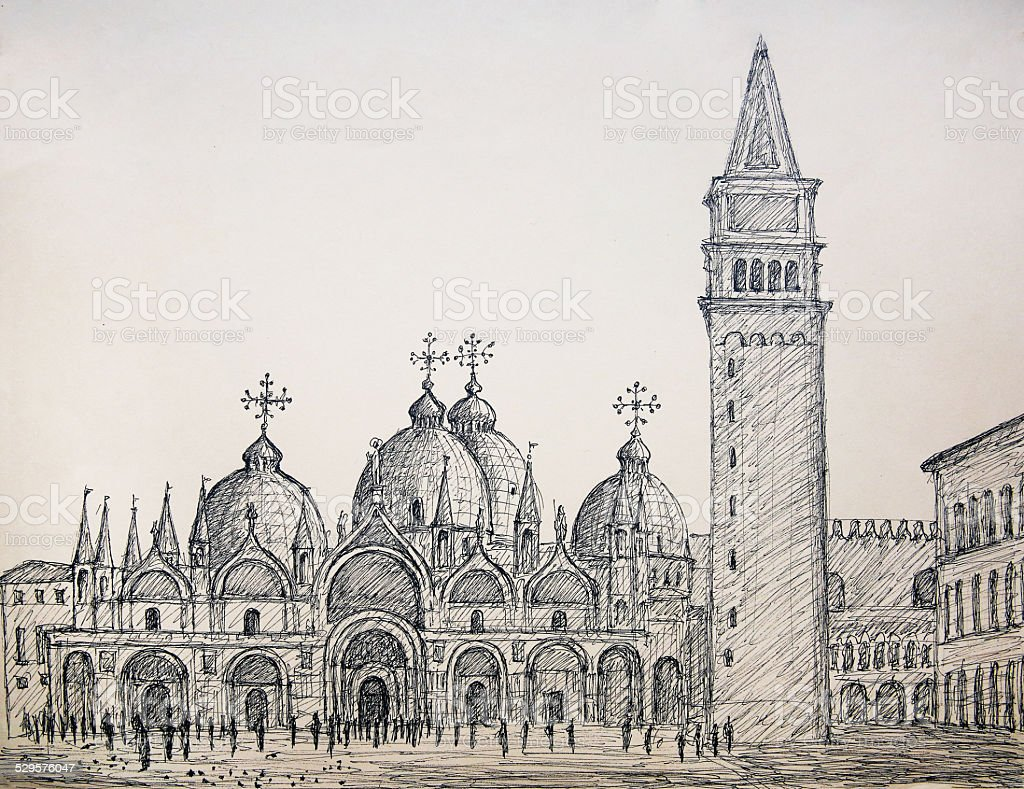 Painting of St. Mark's basilica in Venice Italy vector art illustration