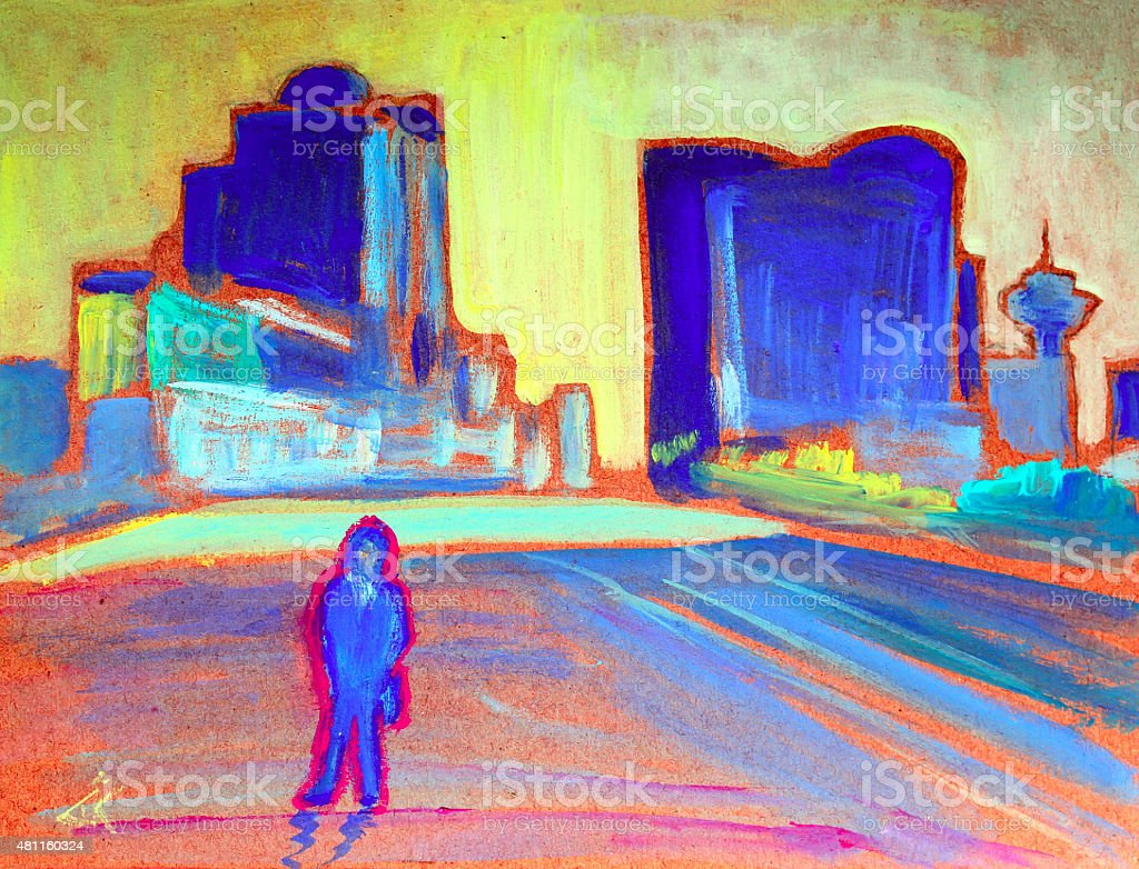 Painting of the Man in Vancouver vector art illustration