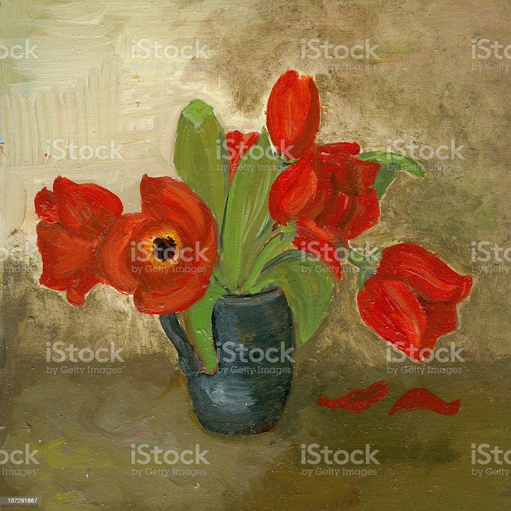 painting of tulips vector art illustration