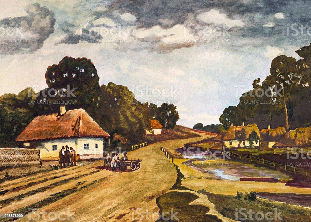 Painting of Ukrainian rural landscape vector art illustration