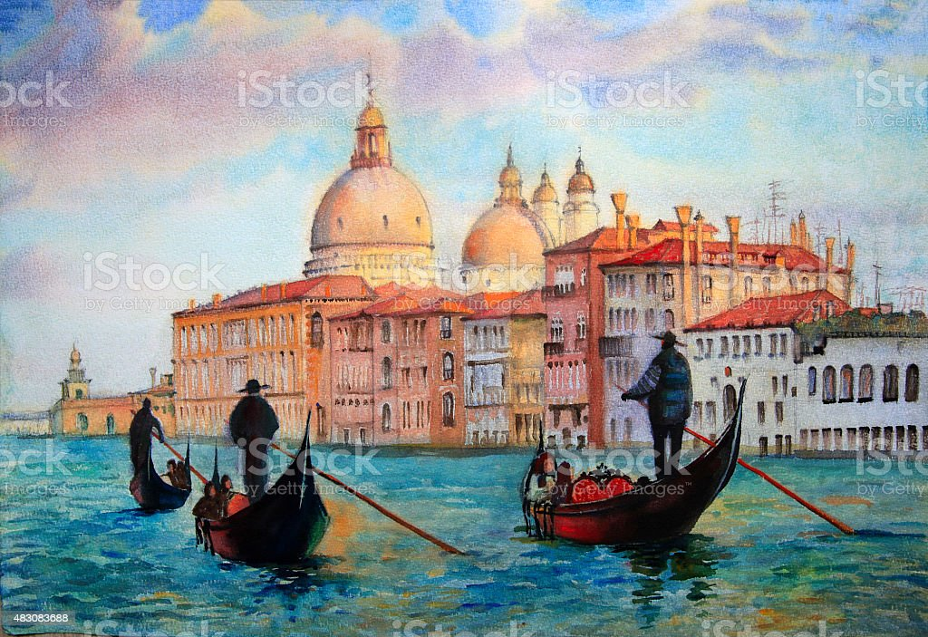 Painting of Venice, painted by watercolor vector art illustration
