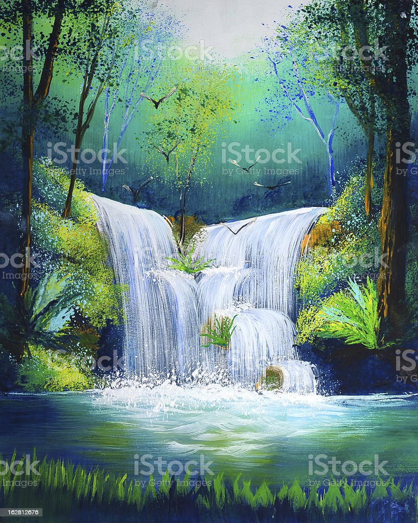 painting of waterfall vector art illustration