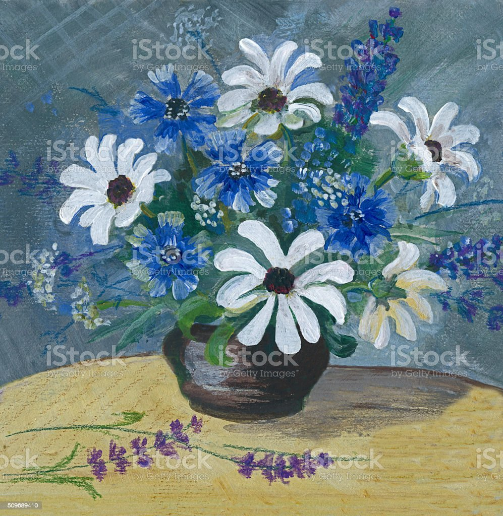 Painting of white and blue flowers arrangement vector art illustration