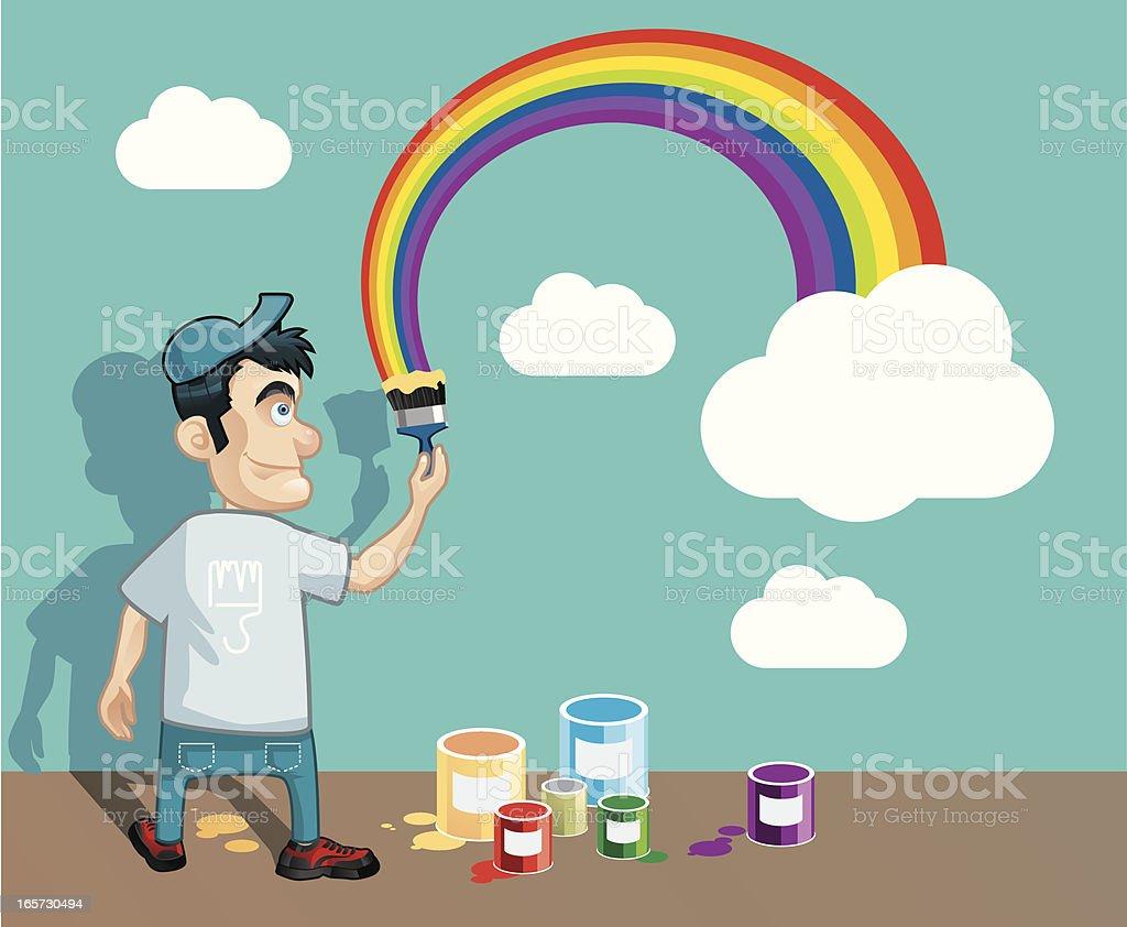 painting rainbow vector art illustration
