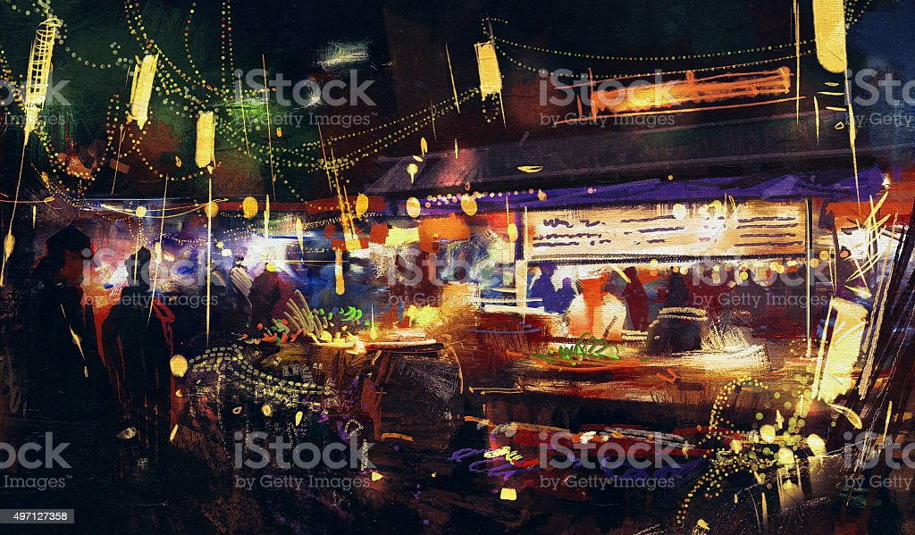 painting showing colorful market at night vector art illustration