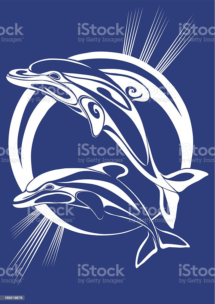 Pair dolphins - a print royalty-free stock vector art