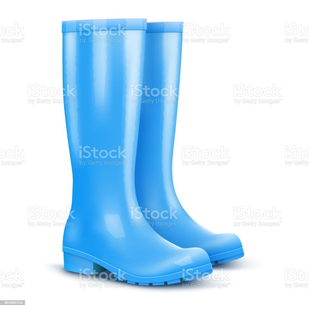 Pair Of Blue Rain Boots stock vector art 654564104 | iStock