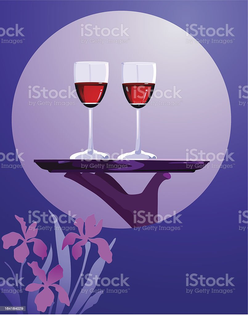 Pair Of Wine Glasses on  tray royalty-free stock vector art