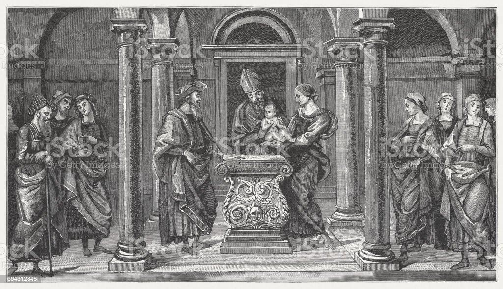 Pala di Fano, painted (1497) by Pietro Perugino, Fano, Italy vector art illustration