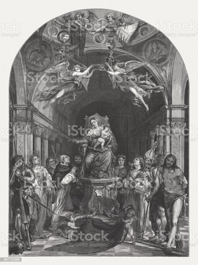 Pala Martinengo, painted (1513-16) by Lorenzo Lotto, San Bartolomeo, Bergamo vector art illustration