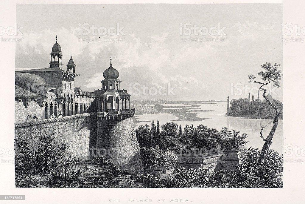 Palace at Agra royalty-free stock vector art
