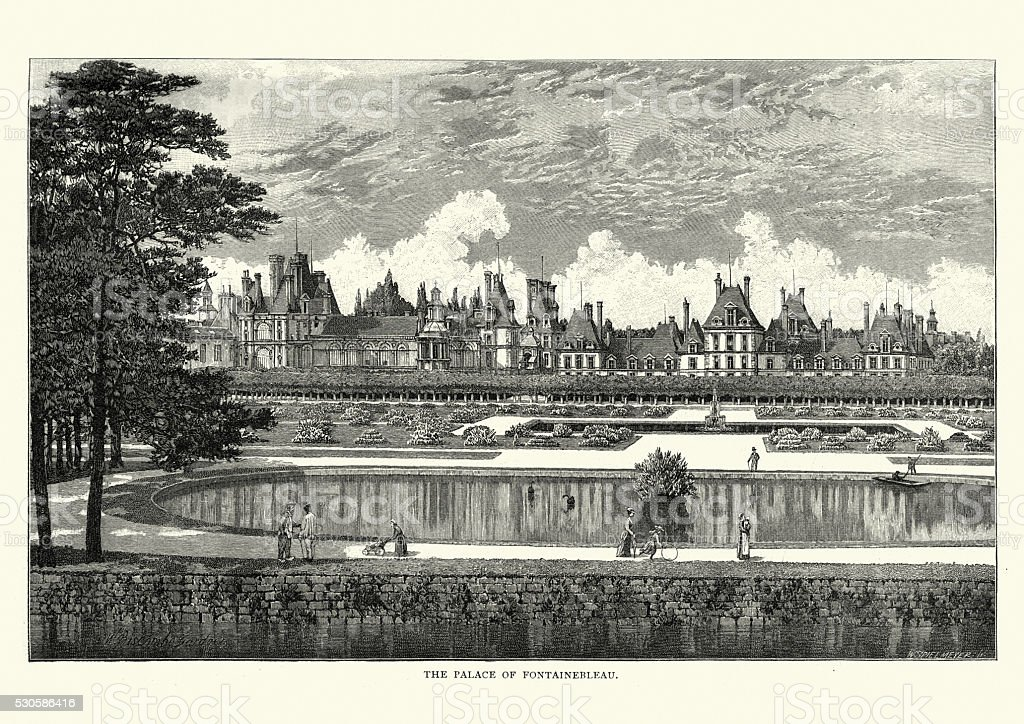 Palace of Fontainebleau, France, 1892 vector art illustration