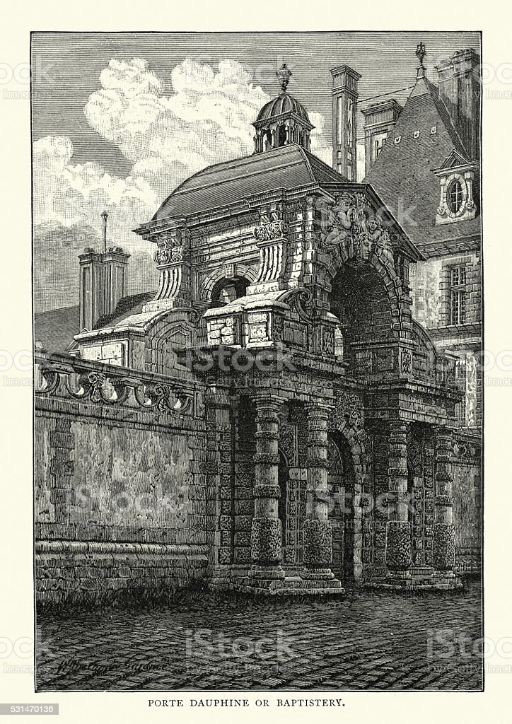 Palace of Fontainebleau - Porte Dauphine or Baptistry vector art illustration