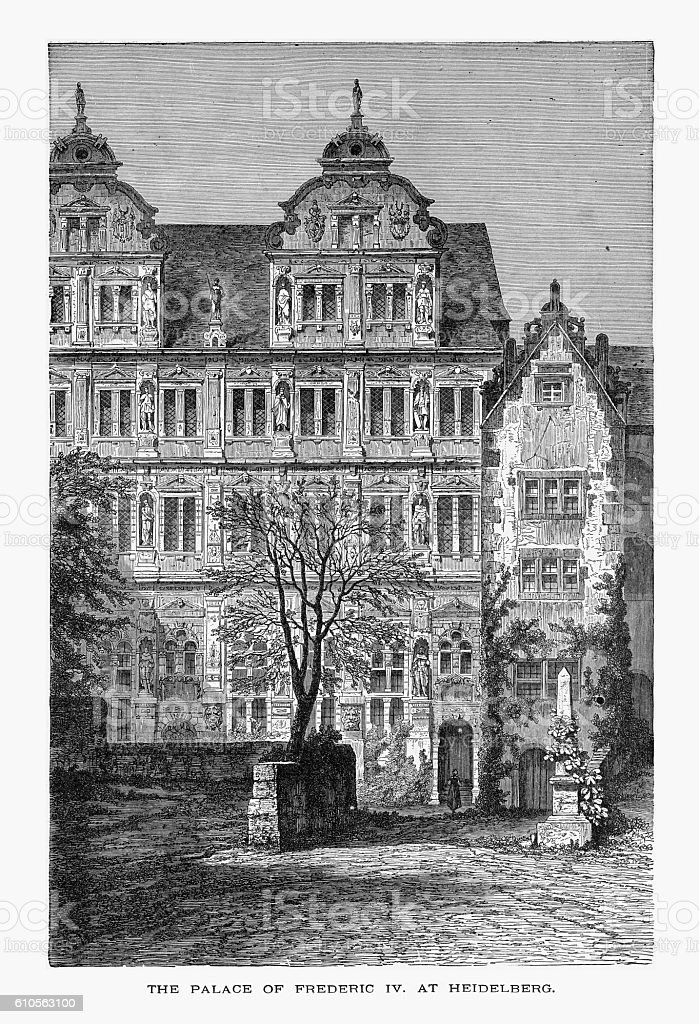 Palace of Frederic IV at Heidelberg, Germany Circa 1887 vector art illustration