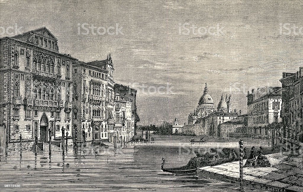 Palaces of the Grand Canal, Victorian Era vector art illustration