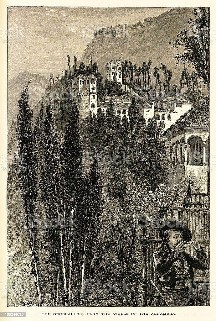 Palacio de Generalife, Spain (antique wood engraving) royalty-free stock vector art