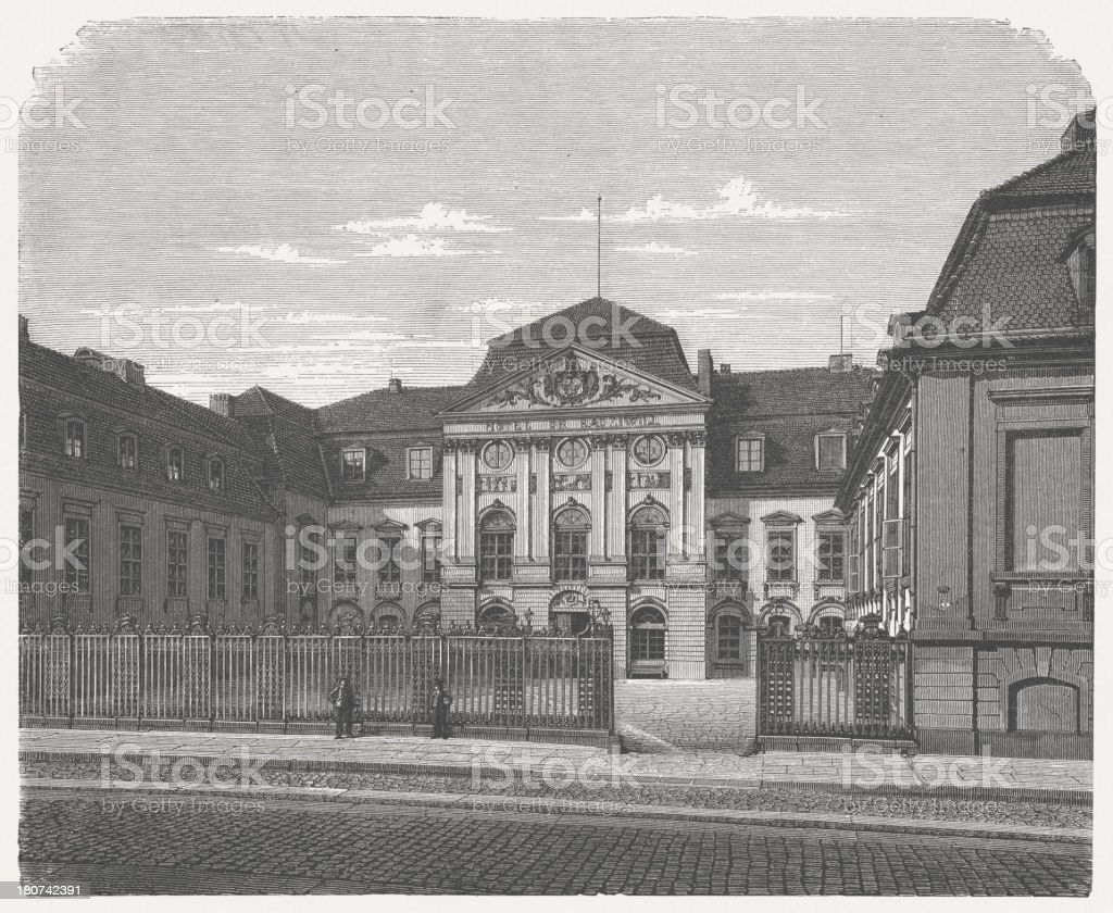 Palais Radziwill, Berlin, Germany, built 1738/39, wood engraving, published 1875 royalty-free stock vector art