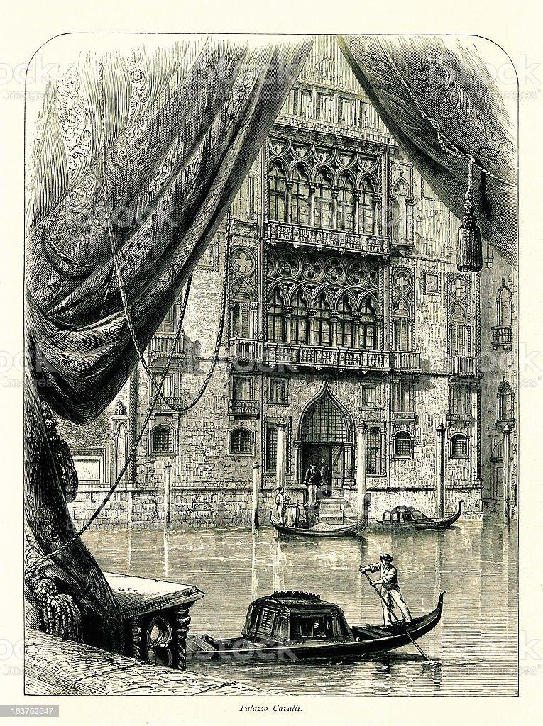 Palazzo Cavalli-Franchetti, Venice, Italy I Antique European Illustrations vector art illustration