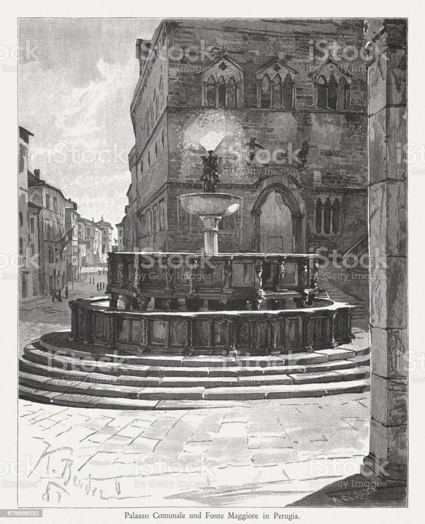 Palazzo dei Priori and Fonte Maggiore, Perugia, Italy, published 1884 vector art illustration