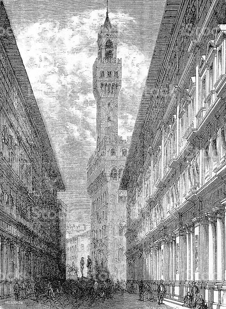 Palazzo della Signoria, Florence vector art illustration