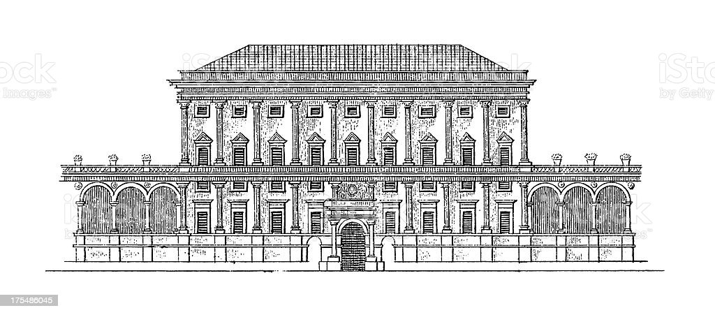 Palazzo Doria Tursi, Genoa, Italy | Antique Architectural Illustrations vector art illustration