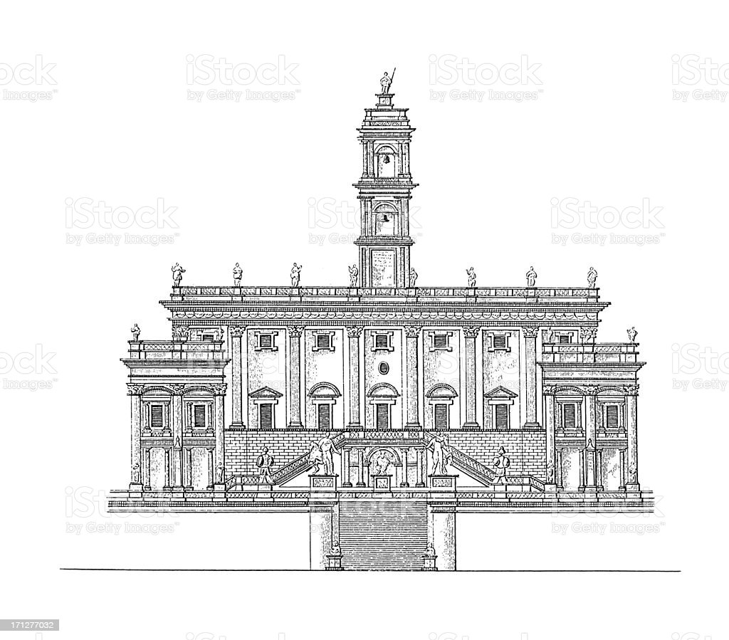 Palazzo Senatorio, Rome, Italy | Antique Architectural Illustrations royalty-free stock vector art