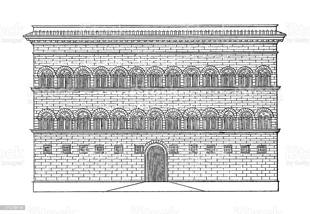 Palazzo Strozzi, Florence, Italy  | Antique Architectural Illustrations vector art illustration