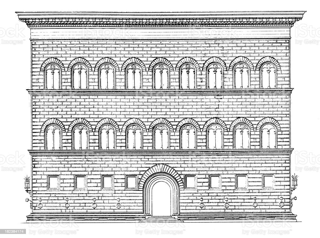 Palazzo Strozzi in Firenze   Antique Architectural Illustrations royalty-free stock vector art