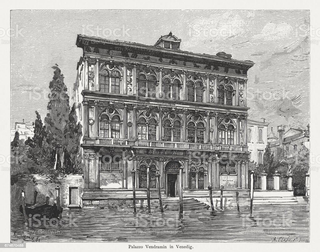 Palazzo Vendramin-Calergi, built 1481-1509, Venice, Italy, wood engraving, published 1884 vector art illustration