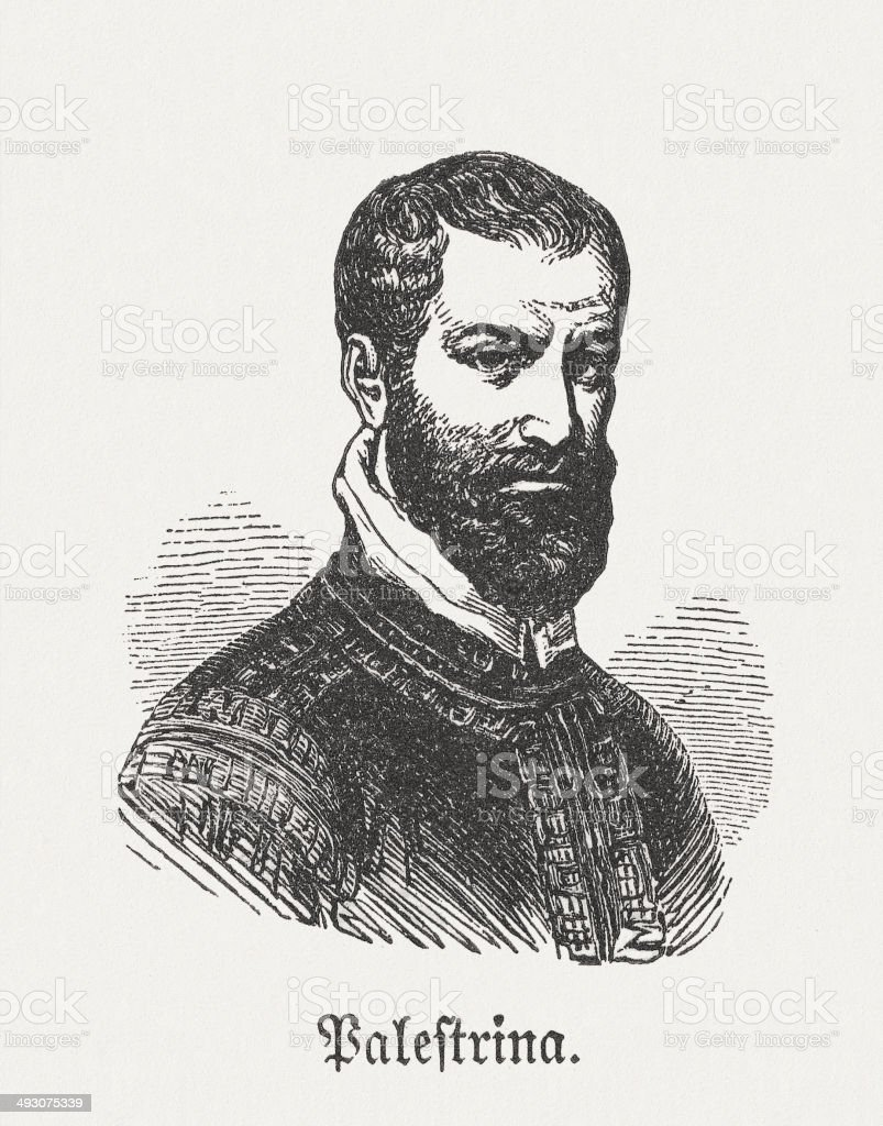 Palestrina (1514/29-1594), Italian composer, wood engraving, published in 1881 royalty-free stock vector art
