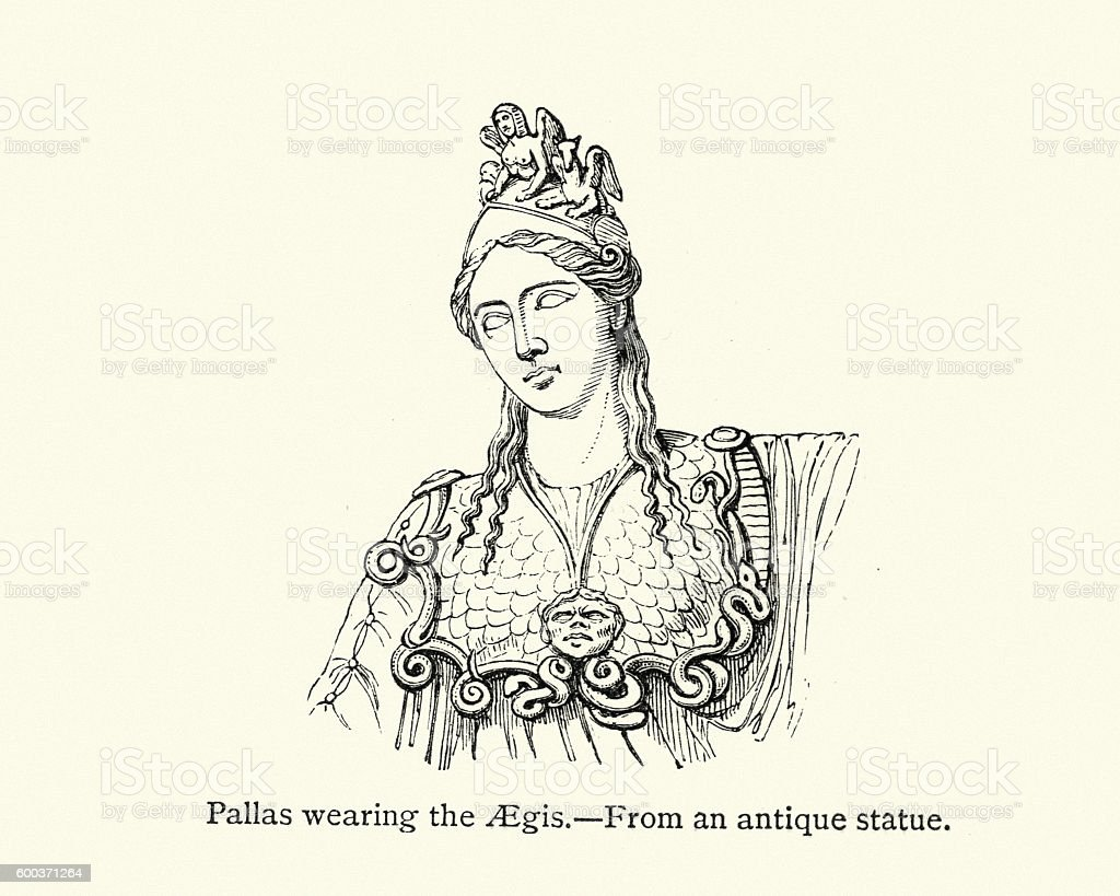Pallas Athena wearing the Aegis vector art illustration