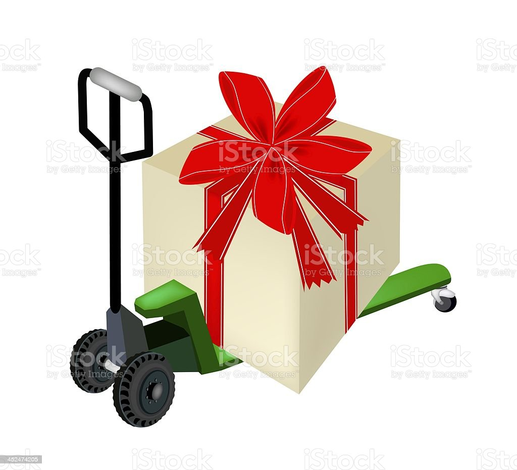 Pallet Truck Loading A Big Gift Box royalty-free stock vector art
