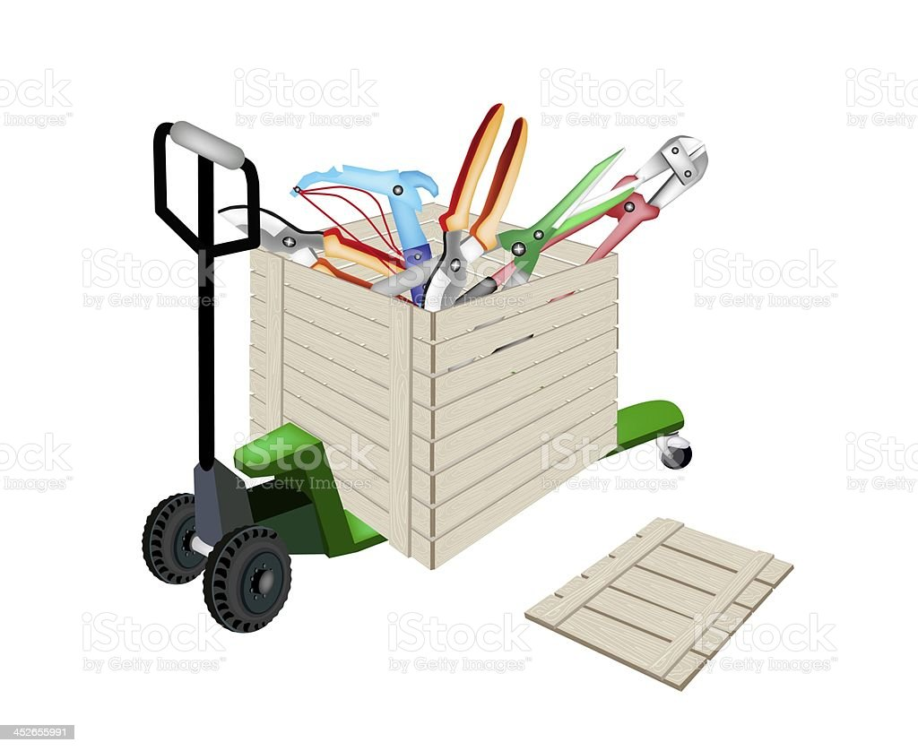 Pallet Truck Loading Craft Tools in Shipping Box royalty-free stock vector art