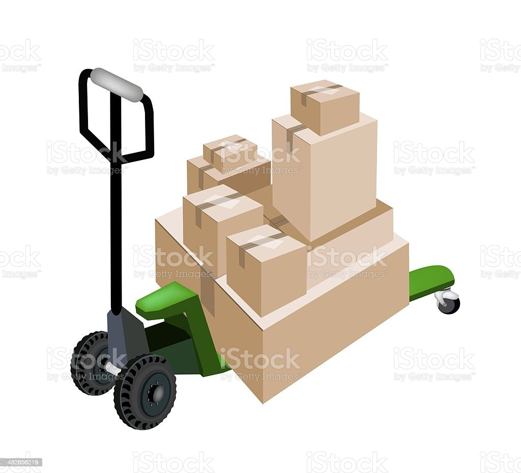 Pallet Truck Loading Stack of Shipping Boxes royalty-free stock vector art