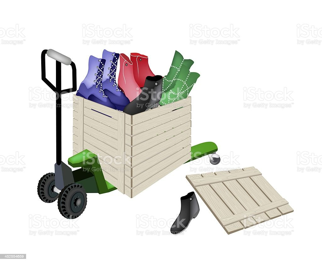 Pallet Truck Loading Women Shoes in Shipping Box royalty-free stock vector art