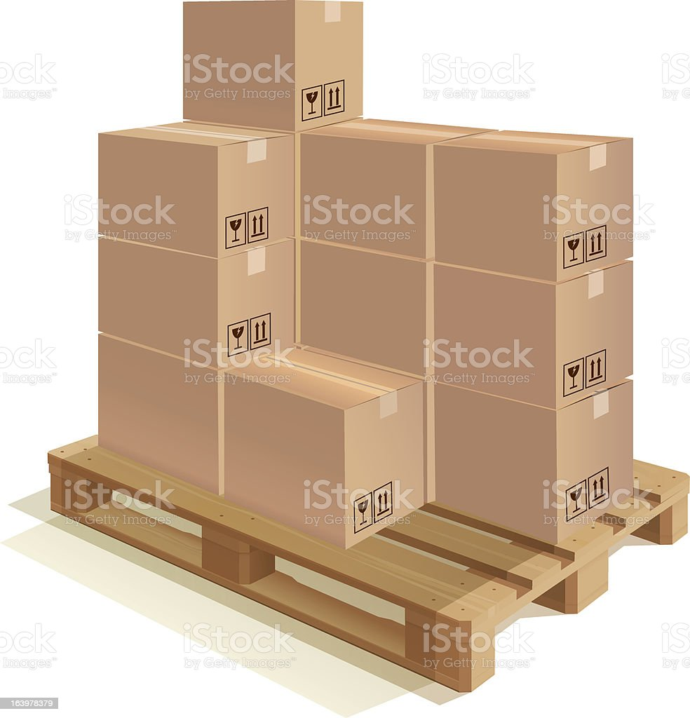 Pallet with boxes royalty-free stock vector art
