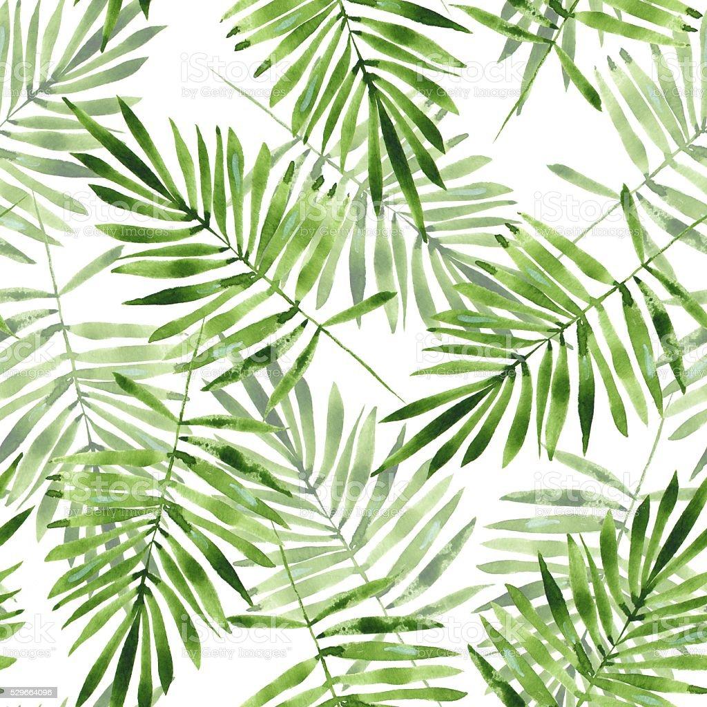 Folhas de palmeira aquarela padr o perfeito 2 vetor e for Watercolor greenery