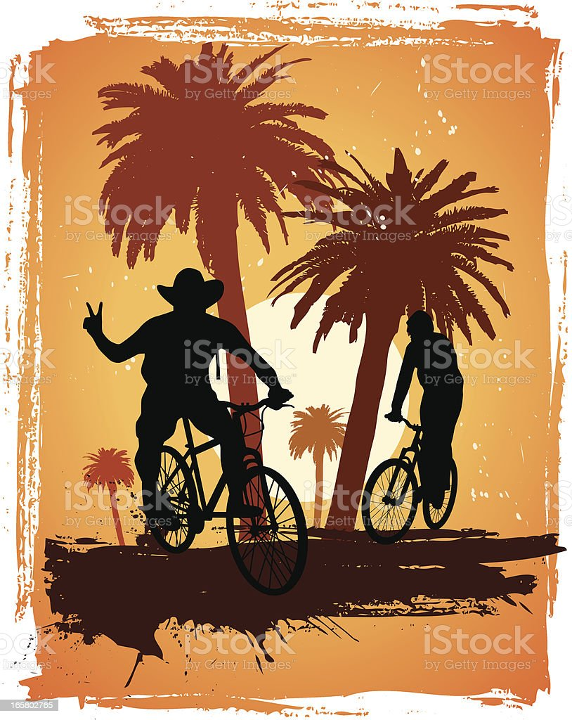 palm tree and cyclists royalty-free stock vector art