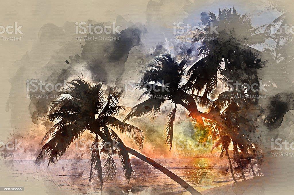 Palm trees near the sea at sunset vector art illustration