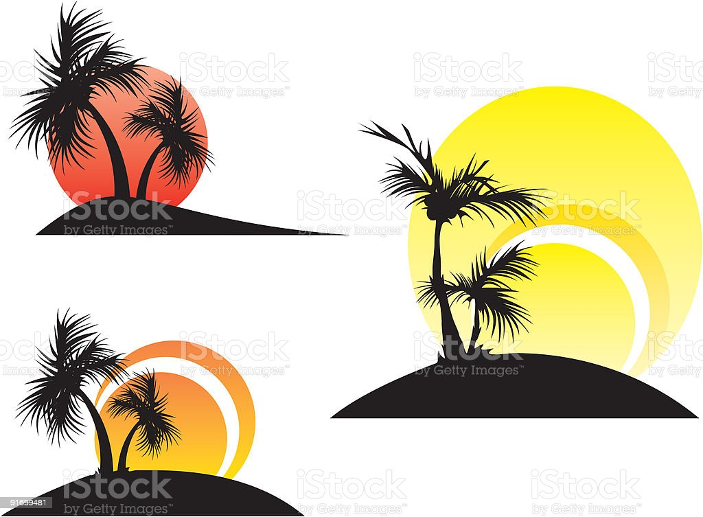palm trees on a sunset royalty-free stock vector art