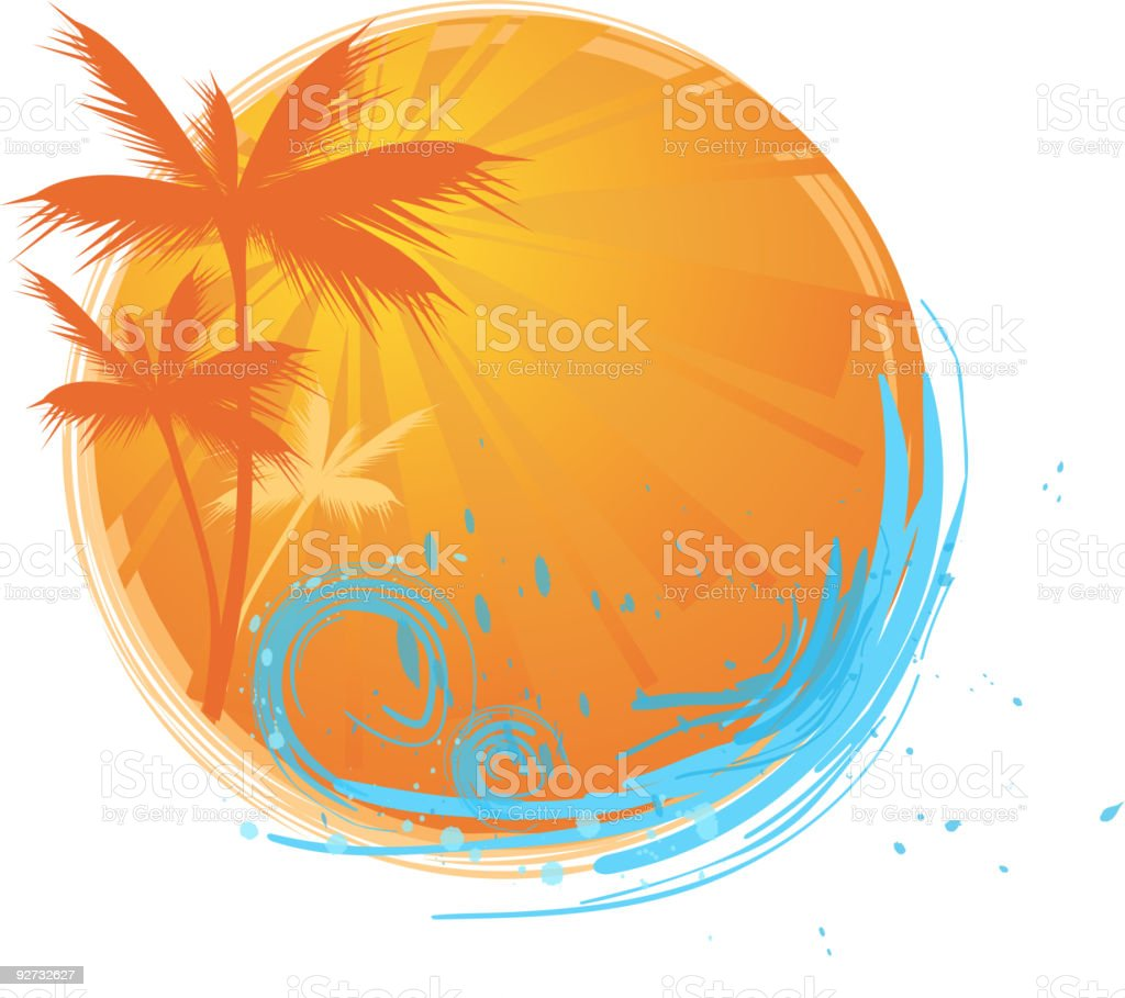 Palms round banner royalty-free stock vector art