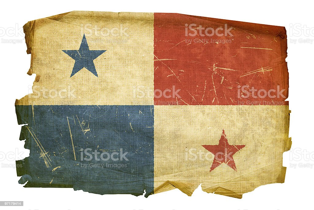 Panama Flag old, isolated on white background. royalty-free stock vector art