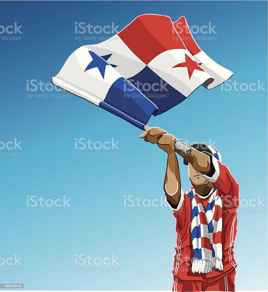 Panamania Waving Flag Soccer Fan royalty-free stock vector art