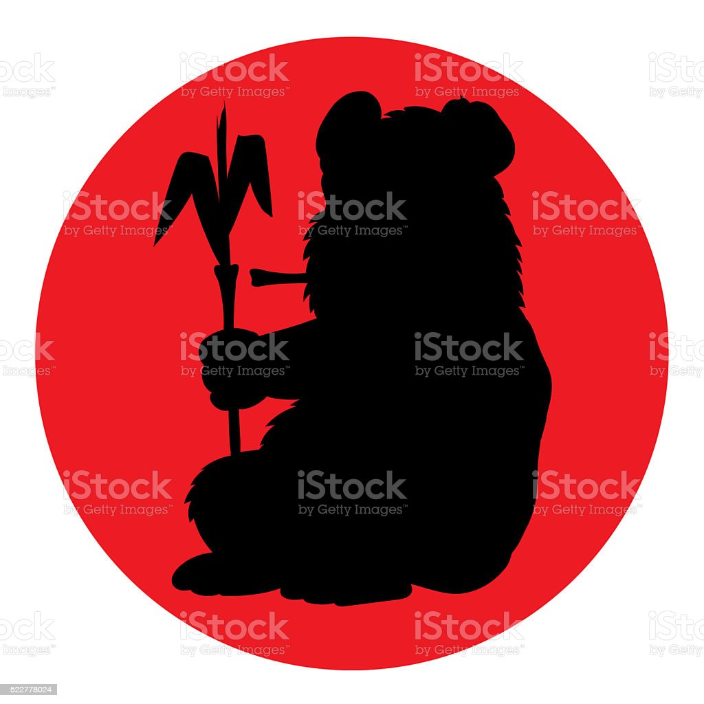 Panda illustration silhouette. stock photo